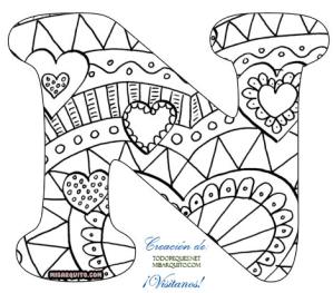 Letra n alfabetos mandalas