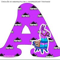 Letras FORTNITE Abecedario con imagen de llamita Descarga Gratis