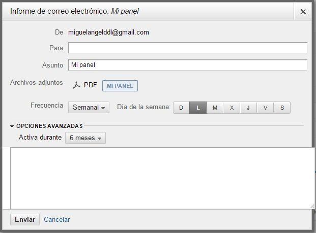 Enviar el panel de Analytics por email