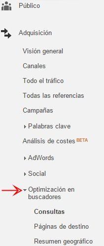 Informes de Optimización en buscadores en Google Analytics