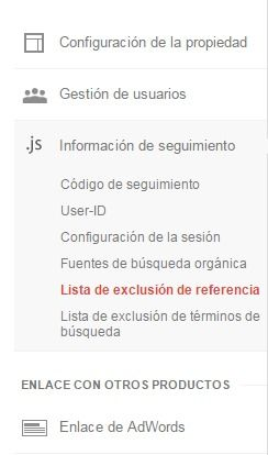 Google Analytics - Lista de exclusión de referencia