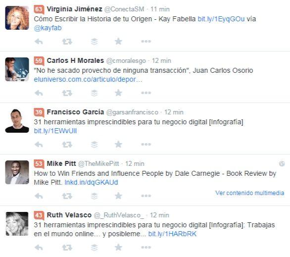 Timeline de Twitter con Klout