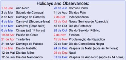 ブラジルの祝日(2019年)