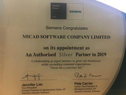 """Chứng nhận đối tác """"Silver"""" Siemens cấp cho MICAD"""