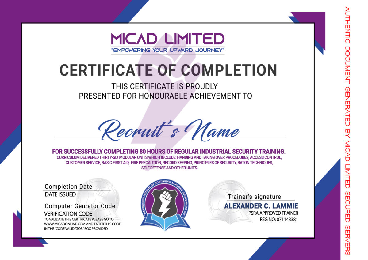 MICAD Limited Industrial Security Certificate
