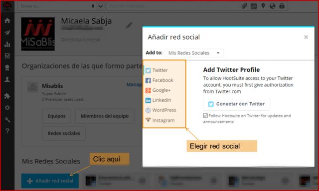 Elegir red social Hootsuite