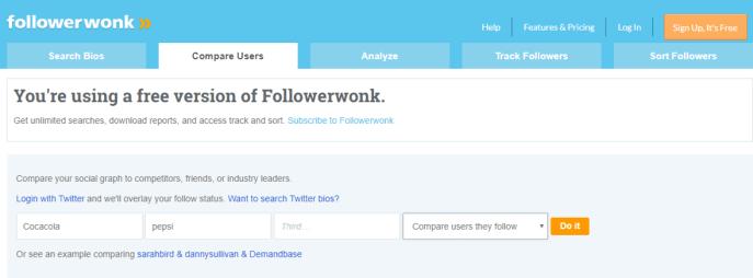 Comparar usuarios Twitter