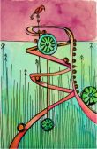 """Whirlygigs, ~3 x 5"""" watercolor and ink on paper"""