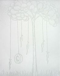 """Hanging in the Boughs, 11 x 14"""" paper with pinholes"""