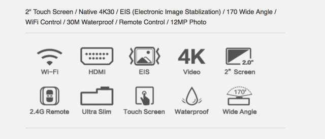 specs eken h5s 4k action camera