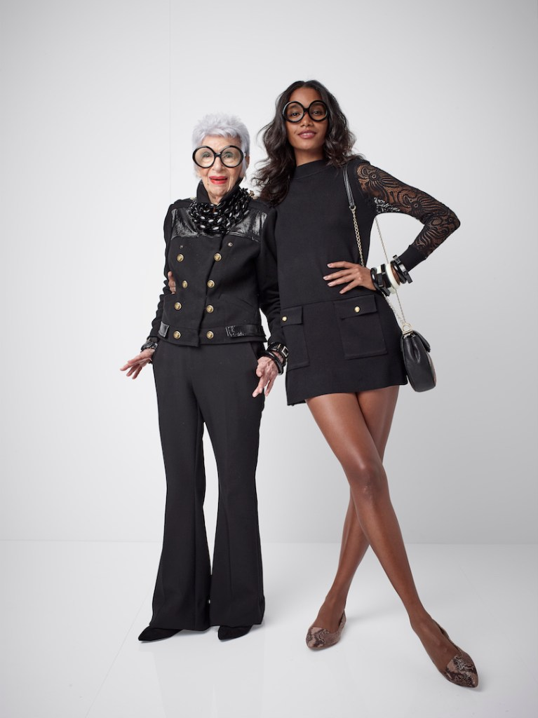 Iris and a Model wearing pieces of the collection