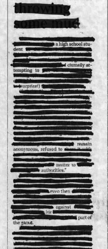 Autobiographical blackout/erasure poem Michael Jackman created from the above article from the Indianapolis Star.