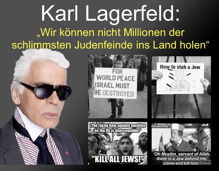 """Karl Lagerfeld: """"Wir können nicht Millionen der schlimmsten Judenfeinde ins Land holen"""""""