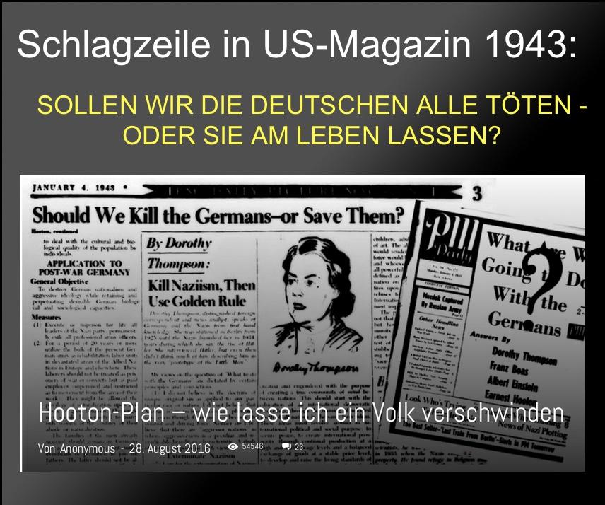 """Hooton-Plan 1943: """"Wie lasse ich ein Volk (Deutschland) verschwinden?"""" Dieser Plan wird derzeit umgesetzt"""