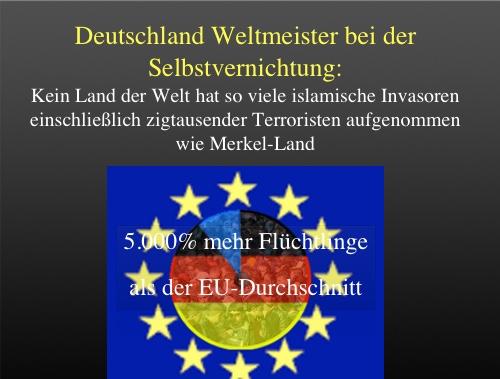 Merkels Vernichtungswerk: Deutschland hat 5.000 Prozent (!) mehr Flüchtlinge als der EU-Durchschnitt