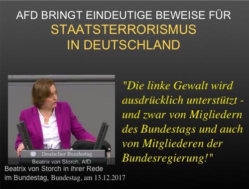 STAATSTERRORISMUS: Beatrix von Storch (AfD) beschuldigt linke Parteien und die Bundesregierung  der aktiven Unterstützung des linken Terrors