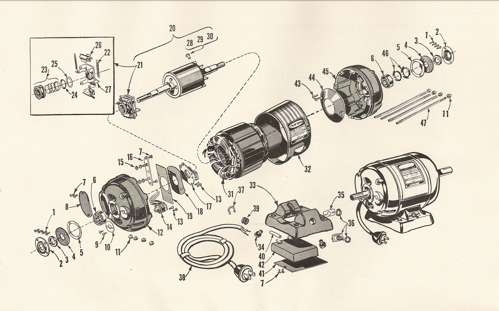 Craftsman 1156962 Motor Restoration Part 2 Michael Parrish Blog Electric Drill Wiring Diagram 1 Hp Capacitor Start Source