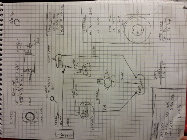 My sketch of the wiring.