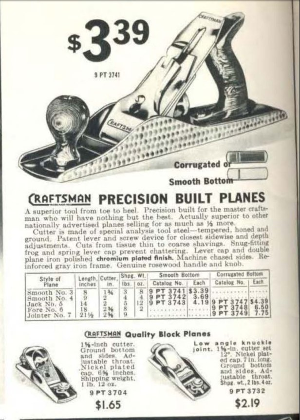 1941 Sears catalog showing no. 3732 block plane for sale.