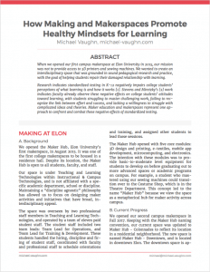 Screenshot of cover page for How Making and Makerspace Promote Healthy Mindsets for Learning. Use the link in this image's caption to download the paper.