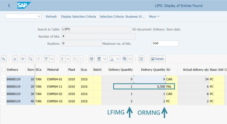 Delivery Qty vs Original Delivery Quantity [SE16n]