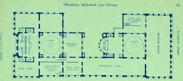 Blueprints to the Chicago Public Library (1897)