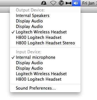 Changing OSX Audio device from menubar
