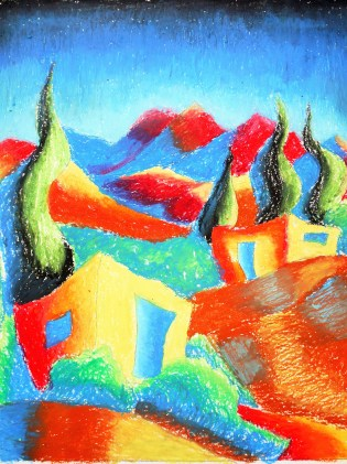 Year 7_Oil pastel_landscape