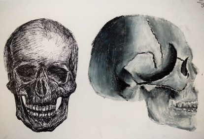 Year 8_Pen and oil pastel_Skulls