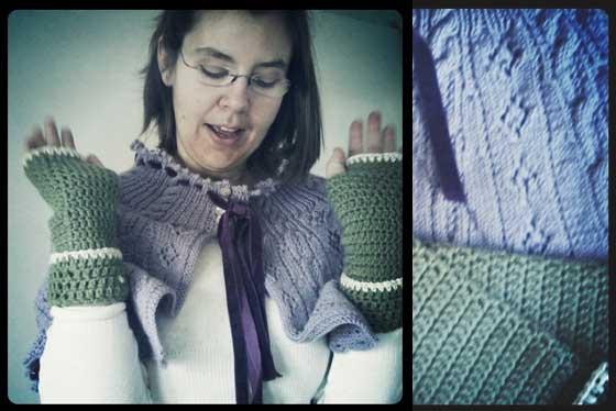 michaela enjoys her new knitted birthday presents