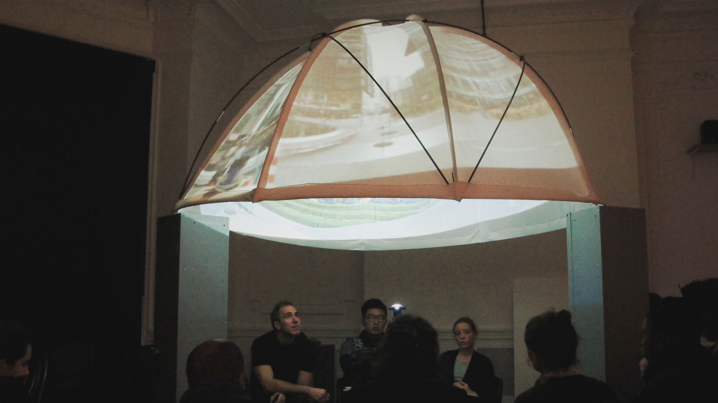 The Exploded Screen students project fulldome tests during the morning crit. & DIY Planetarium | Michaela French