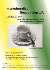 Plakat zum Interkulturellen Begegnungscafé am So, 26.02.2017 in Lichtenberg bei Linz/OÖ