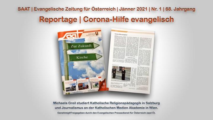 Reportage | Corona-Hilfe evangelisch | SAAT – Evangelische Zeitung für Österreich – exklusiv / KMA
