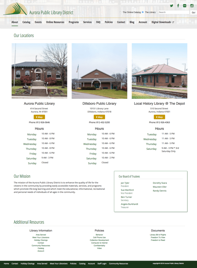 Aurora Public Library District Website Design & Development