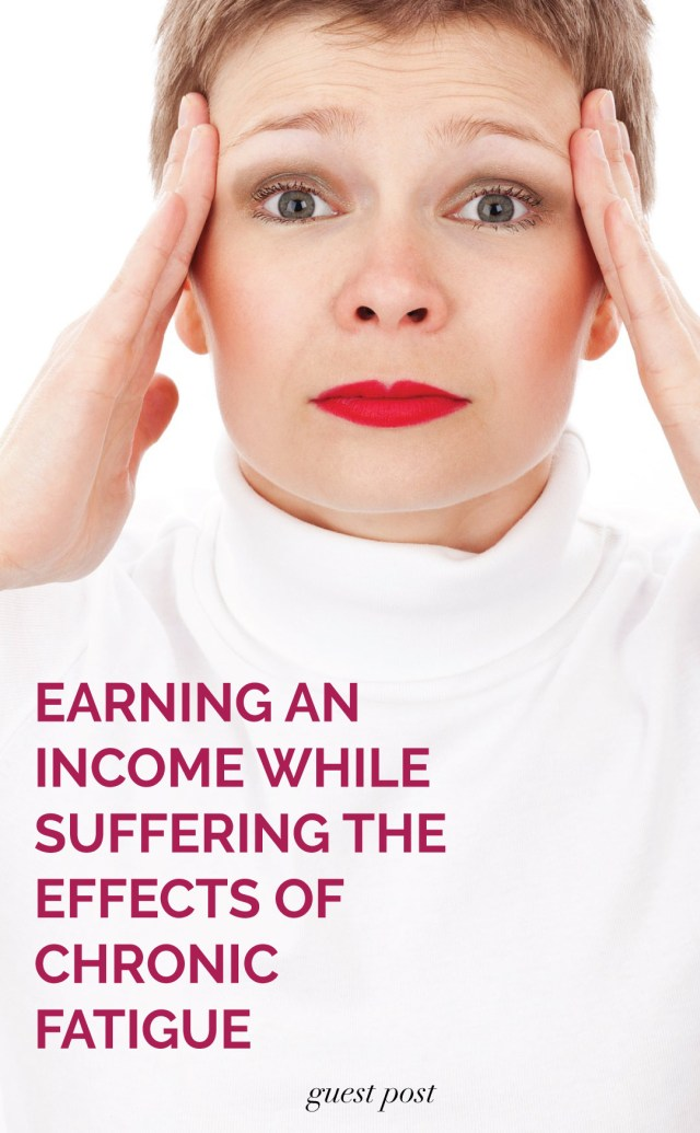 Brunette woman holding head - Earning an income while suffering the effects of chronic fatigue