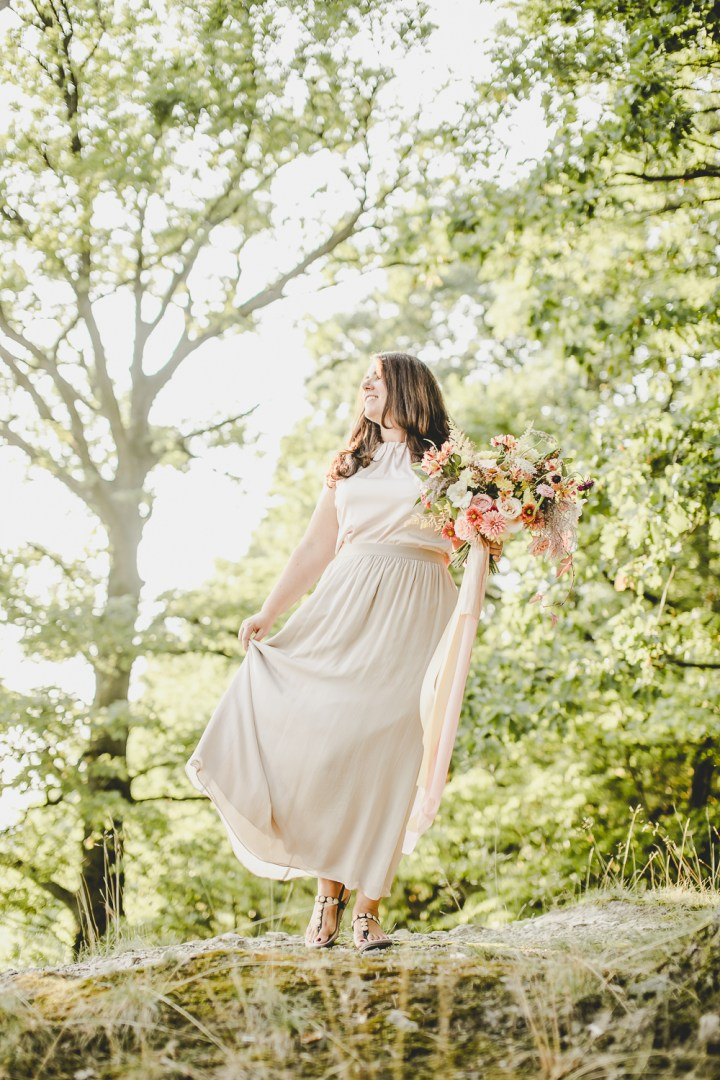 Brautinspiration Toskana Italien Brautstrauß Sommerfarben gelb rosa