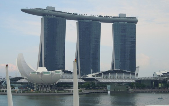 Marina Bay Sands - three 60 story buildings with an open area atop