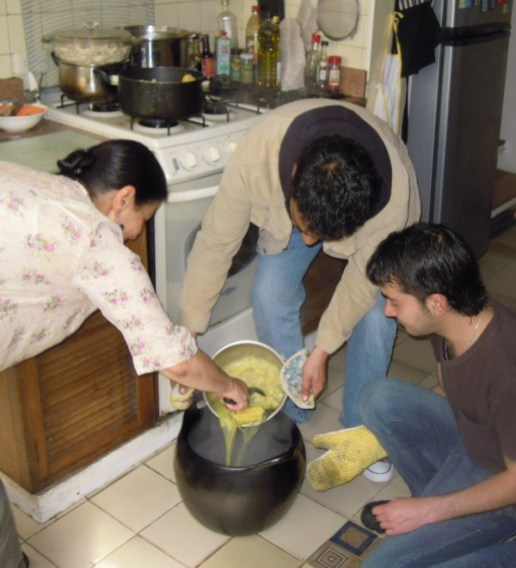 Pouring the Ajiaco into Earthern Pot
