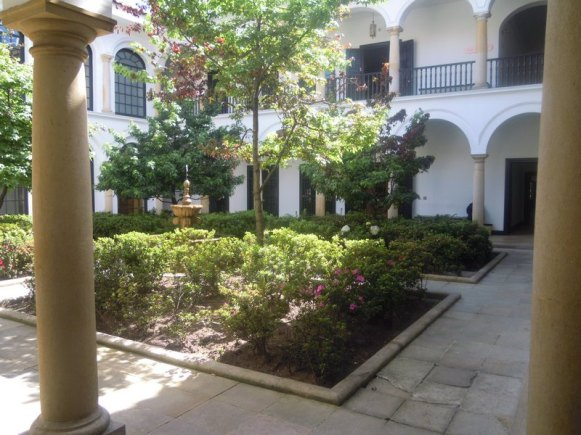 Center courtyard of the Botero Museum. Many of the old homes had courtyards like this originally.