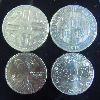 200 peso coins - old on top & new on bottom