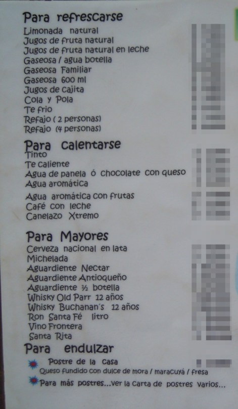 The drink menu has many Colombian drinks