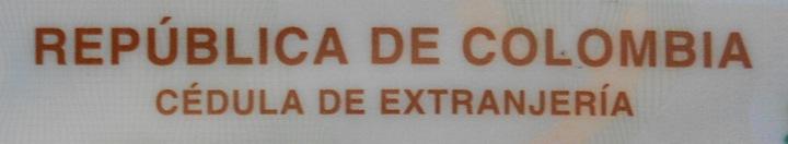 Republica de Colombia cedula de extranjeria 720