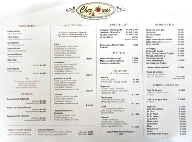 Chez Moi coffee shop Chia Colombia menu