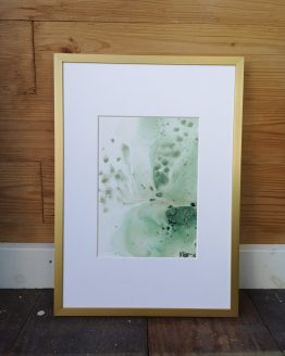Original art on Stone paper. Green feather. A5