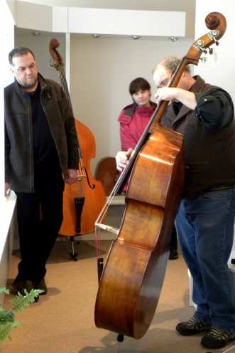 Mike Asetta testing newly designed carved Strunal with master craftsman and production head, Luby, Czech