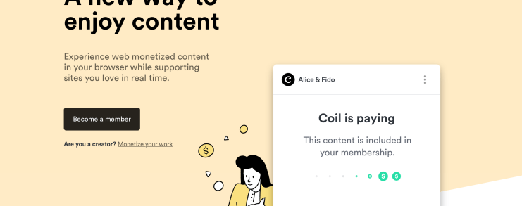A screenshot of the Coil homepage. A new way to enjoy content.