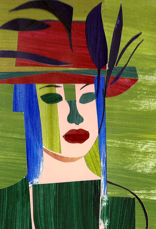 Princess Feather Hat, collage with painted paper, Michael Chambers