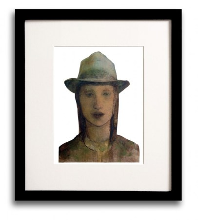 Portrait painting of a young woman wearing a fedora