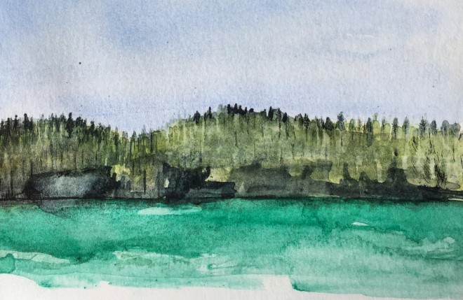 Spirit Lake #1, watercolor and ink, Michael Chambers