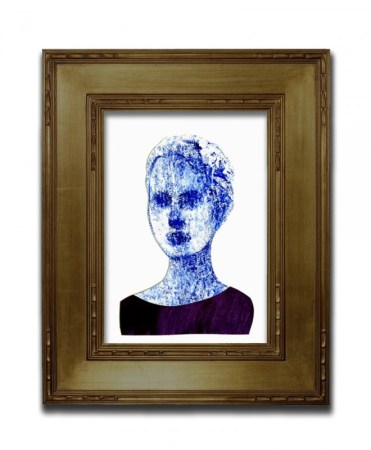Framed portrait painting of a young woman using blue tones